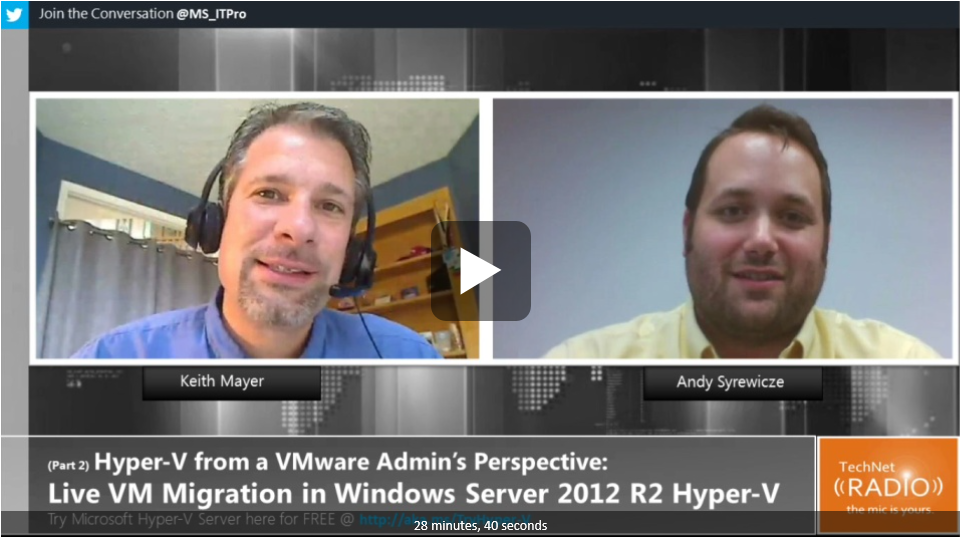 Hyper-V from a VMware Admin's Perspective – Live Migration of Virtual Machines